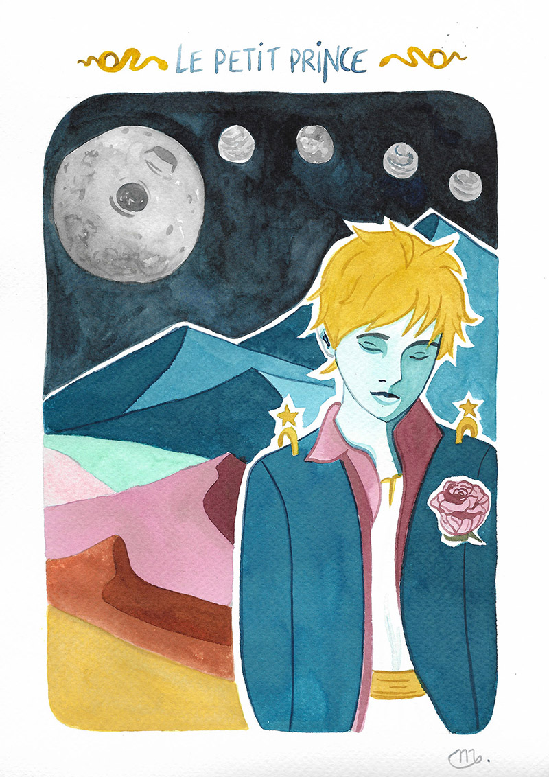 Illustration aquarelle le Petit Prince